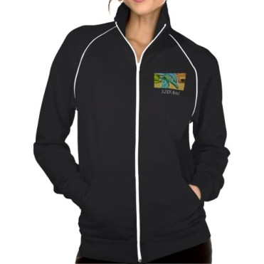 Soaring Dolphin Plaza, Women, American Apparel California Fleece Track Jacket, Black, Front